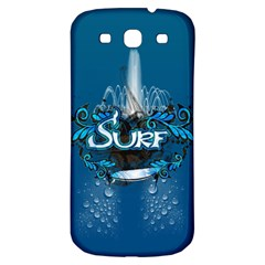 Surf, Surfboard With Water Drops On Blue Background Samsung Galaxy S3 S Iii Classic Hardshell Back Case by FantasyWorld7
