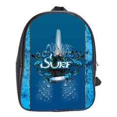 Surf, Surfboard With Water Drops On Blue Background School Bags (xl)  by FantasyWorld7