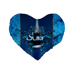 Surf, Surfboard With Water Drops On Blue Background Standard 16  Premium Heart Shape Cushions by FantasyWorld7