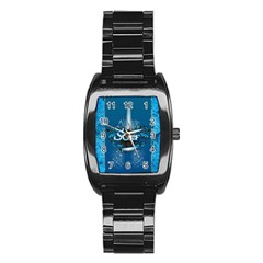 Surf, Surfboard With Water Drops On Blue Background Stainless Steel Barrel Watch by FantasyWorld7