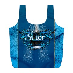 Surf, Surfboard With Water Drops On Blue Background Full Print Recycle Bags (l)  by FantasyWorld7