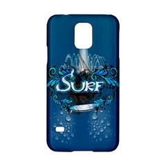 Surf, Surfboard With Water Drops On Blue Background Samsung Galaxy S5 Hardshell Case  by FantasyWorld7