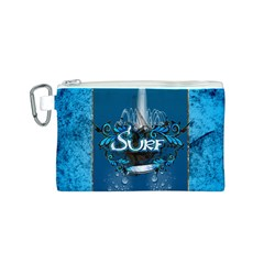Surf, Surfboard With Water Drops On Blue Background Canvas Cosmetic Bag (s) by FantasyWorld7