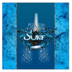 Surf, Surfboard With Water Drops On Blue Background Large Satin Scarf (square) by FantasyWorld7