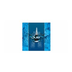 Surf, Surfboard With Water Drops On Blue Background Satin Wrap by FantasyWorld7