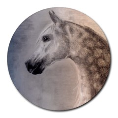 Grey Arabian Horse Round Mousepads by TwoFriendsGallery