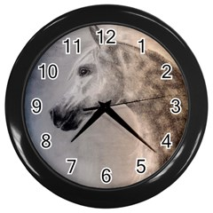 Grey Arabian Horse Wall Clocks (black) by TwoFriendsGallery