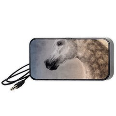 Grey Arabian Horse Portable Speaker (black)  by TwoFriendsGallery