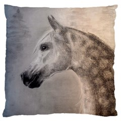 Grey Arabian Horse Large Cushion Cases (two Sides)  by TwoFriendsGallery