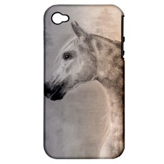 Grey Arabian Horse Apple Iphone 4/4s Hardshell Case (pc+silicone) by TwoFriendsGallery
