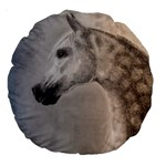 Grey Arabian Horse Large 18  Premium Round Cushions Back