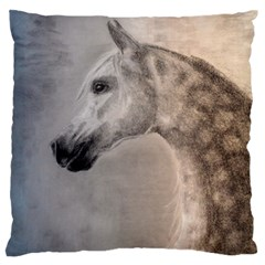 Grey Arabian Horse Large Flano Cushion Cases (two Sides)  by TwoFriendsGallery