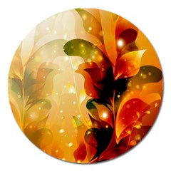 Awesome Colorful, Glowing Leaves  Magnet 5  (round) by FantasyWorld7