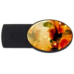 Awesome Colorful, Glowing Leaves  USB Flash Drive Oval (2 GB)  by FantasyWorld7