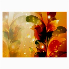 Awesome Colorful, Glowing Leaves  Large Glasses Cloth (2 Side) by FantasyWorld7