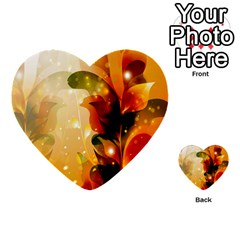 Awesome Colorful, Glowing Leaves  Multi Purpose Cards (heart)  by FantasyWorld7