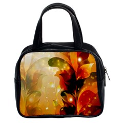 Awesome Colorful, Glowing Leaves  Classic Handbags (2 Sides) by FantasyWorld7