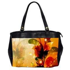 Awesome Colorful, Glowing Leaves  Office Handbags (2 Sides)  by FantasyWorld7