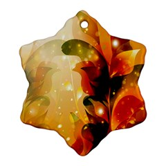 Awesome Colorful, Glowing Leaves  Snowflake Ornament (2 Side) by FantasyWorld7
