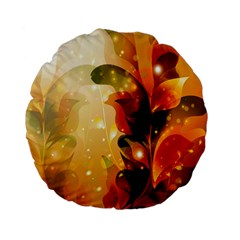 Awesome Colorful, Glowing Leaves  Standard 15  Premium Flano Round Cushions by FantasyWorld7