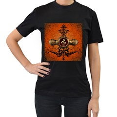 Wonderful Golden Clef On A Button With Floral Elements Women s T Shirt (black) (two Sided)