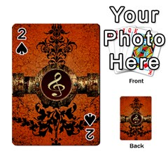 Wonderful Golden Clef On A Button With Floral Elements Playing Cards 54 Designs