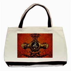 Wonderful Golden Clef On A Button With Floral Elements Basic Tote Bag  by FantasyWorld7