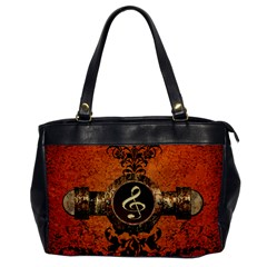 Wonderful Golden Clef On A Button With Floral Elements Office Handbags by FantasyWorld7