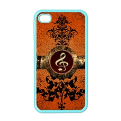 Wonderful Golden Clef On A Button With Floral Elements Apple Iphone 4 Case (color) by FantasyWorld7