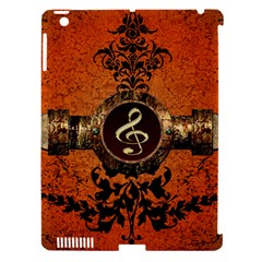 Wonderful Golden Clef On A Button With Floral Elements Apple Ipad 3/4 Hardshell Case (compatible With Smart Cover) by FantasyWorld7