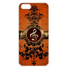 Wonderful Golden Clef On A Button With Floral Elements Apple Iphone 5 Seamless Case (white) by FantasyWorld7