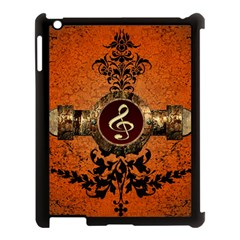 Wonderful Golden Clef On A Button With Floral Elements Apple Ipad 3/4 Case (black) by FantasyWorld7