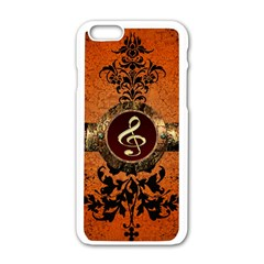 Wonderful Golden Clef On A Button With Floral Elements Apple Iphone 6/6s White Enamel Case by FantasyWorld7