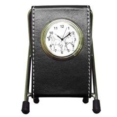 Logosquare Pen Holder Desk Clocks by TwoFriendsGallery
