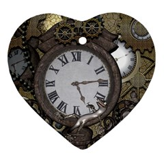 Steampunk, Awesome Clocks With Gears, Can You See The Cute Gescko Ornament (heart)  by FantasyWorld7