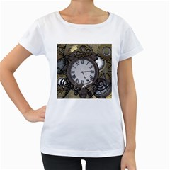 Steampunk, Awesome Clocks With Gears, Can You See The Cute Gescko Women s Loose-Fit T-Shirt (White) by FantasyWorld7