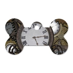 Steampunk, Awesome Clocks With Gears, Can You See The Cute Gescko Dog Tag Bone (two Sides) by FantasyWorld7