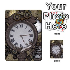 Steampunk, Awesome Clocks With Gears, Can You See The Cute Gescko Multi Purpose Cards (rectangle)