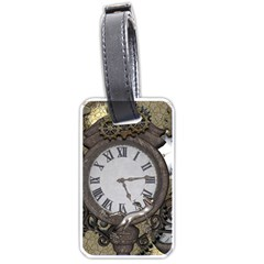 Steampunk, Awesome Clocks With Gears, Can You See The Cute Gescko Luggage Tags (two Sides) by FantasyWorld7