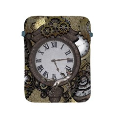 Steampunk, Awesome Clocks With Gears, Can You See The Cute Gescko Apple Ipad 2/3/4 Protective Soft Cases by FantasyWorld7