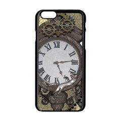 Steampunk, Awesome Clocks With Gears, Can You See The Cute Gescko Apple Iphone 6/6s Black Enamel Case by FantasyWorld7