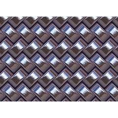 Metal Weave Blue Birthday Cake 3d Greeting Card (7x5)