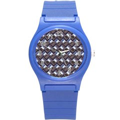 Metal Weave Blue Round Plastic Sport Watch (s) by MoreColorsinLife