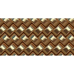 Metal Weave Golden You Are Invited 3d Greeting Card (8x4)