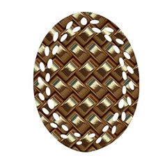 Metal Weave Golden Oval Filigree Ornament (2 Side)  by MoreColorsinLife
