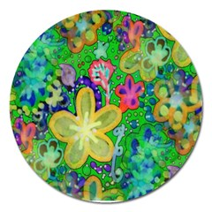 Beautiful Flower Power Batik Magnet 5  (round) by rokinronda