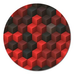 Artistic Cubes 7 Red Black Magnet 5  (round) by MoreColorsinLife
