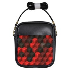 Artistic Cubes 7 Red Black Girls Sling Bags by MoreColorsinLife