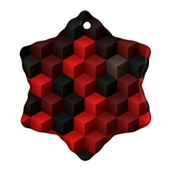 Artistic Cubes 7 Red Black Ornament (snowflake)  by MoreColorsinLife