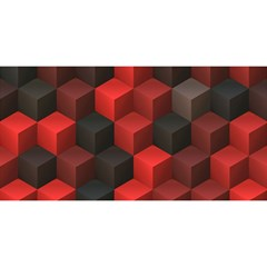 Artistic Cubes 7 Red Black You Are Invited 3d Greeting Card (8x4)